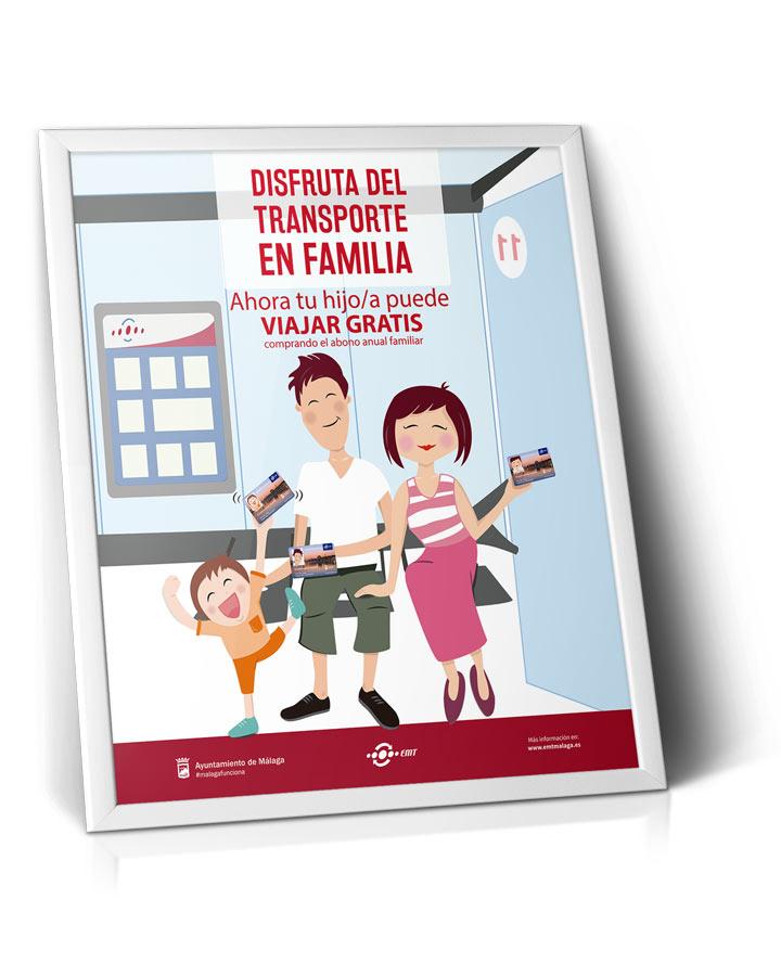 Cartel Campaña Disfruta del transporte en familia EMT - SOYTUTIPO