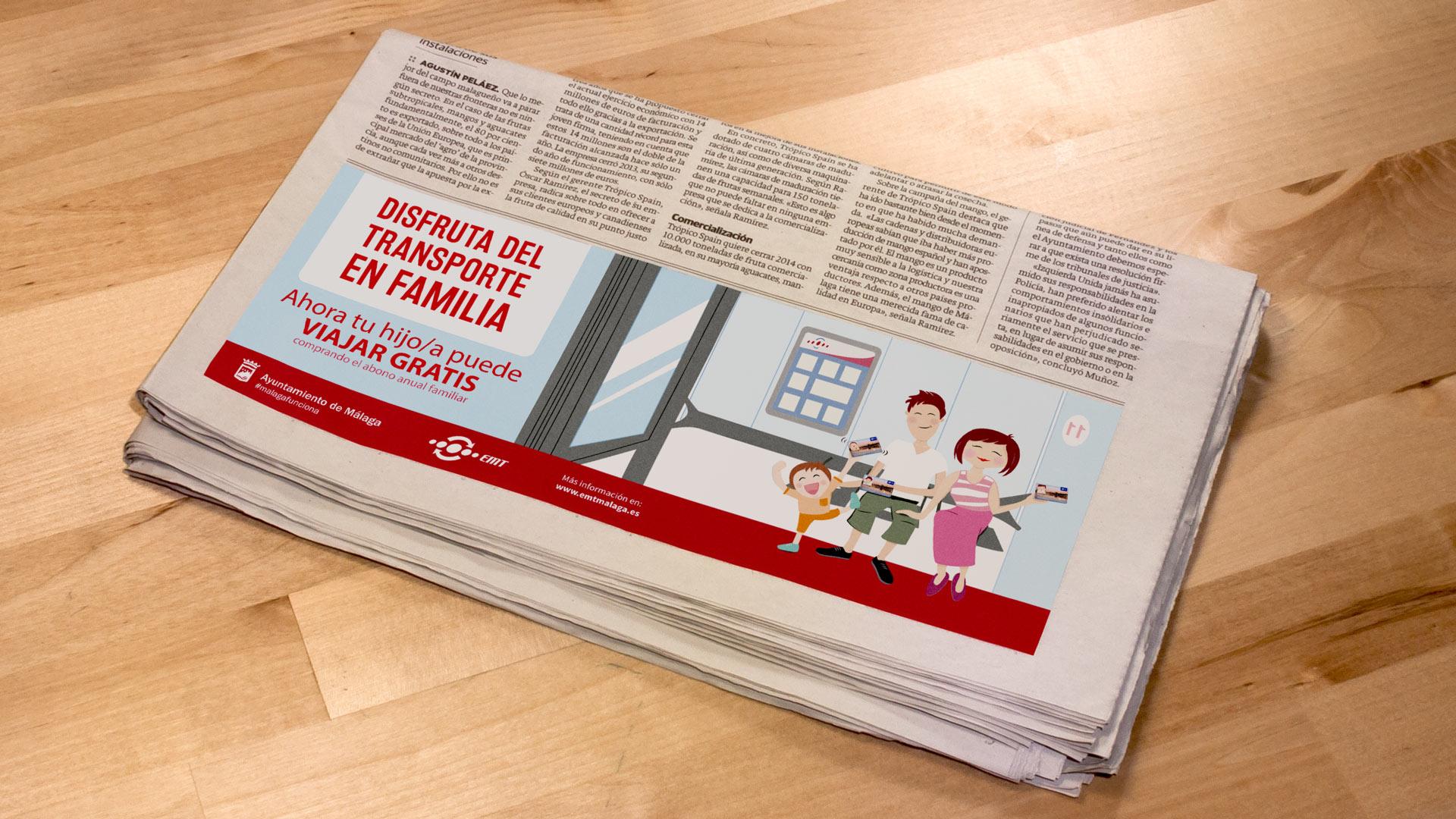 Periódico Campaña Disfruta del transporte en familia EMT - SOYTUTIPO