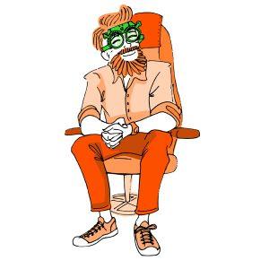Ilustración de señor con gafas de prueba para vinilo Óptica Barbarela - SOYTUTIPO