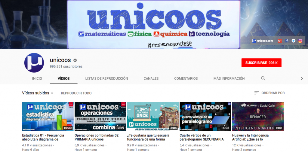 Social media - Canal de Youtube de unicoos