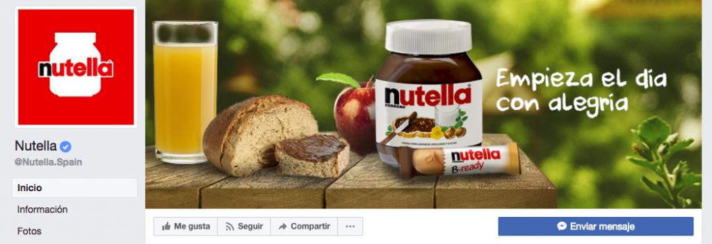 Social media - Cabecera fanpage de Nutella España