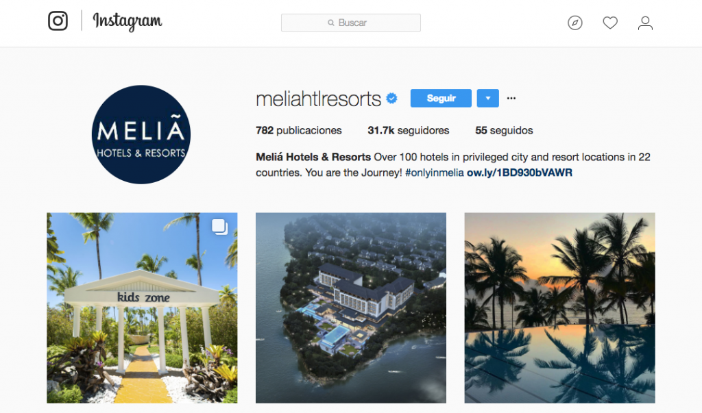 Social media - Perfil instagram de Melia Hotels and Resorts