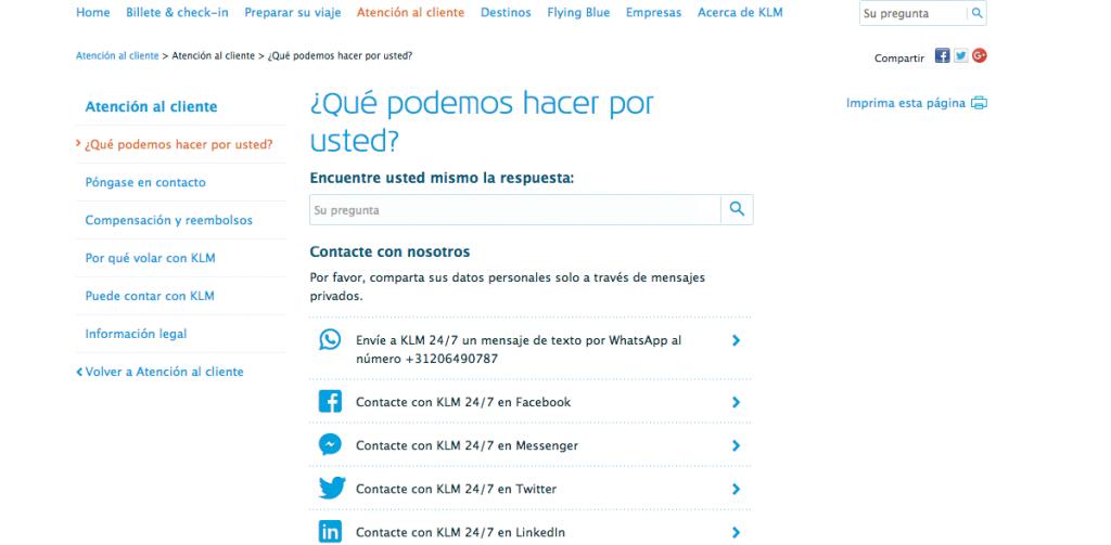 Social media - Sección de contacto de la aerolínea KLM