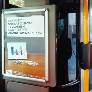 """Cartel interior bus de la campaña """"Queremos que las cuentas te cuadren"""" realizada en 2018 para la EMT de Málaga por SOYTUTIPO"""