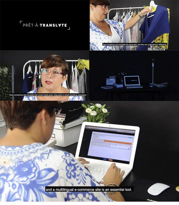 Capturas del vídeo de presentación para Prêt-à-translate realizado por SOYTUTIPO