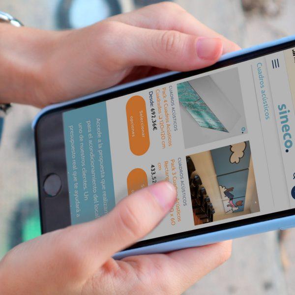Versión móvil de la tienda online de sineco. diseñada por SOYTUTIPO