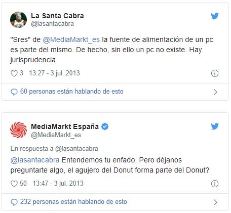 Respuesta de MediaMarkt España a comentarios negativos Instagram Twitter y Facebook