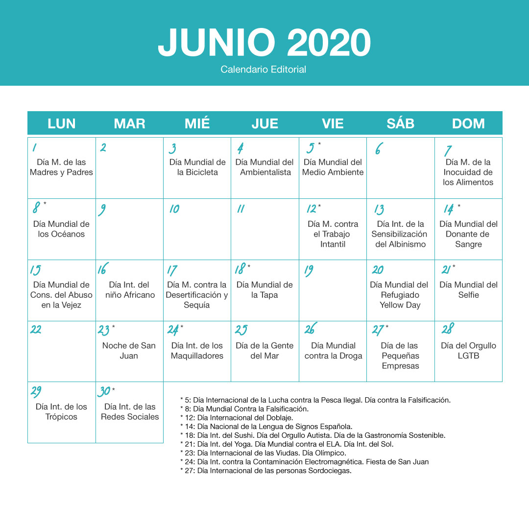 junio 2020 - Calendario editorial SOYTUTIPO