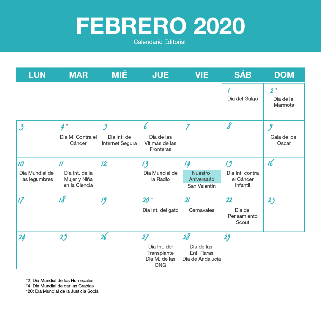 febrero 2020 - Calendario editorial SOYTUTIPO
