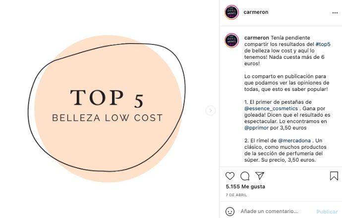 Post de Instagram de la influencer Carmeron - SOYTUTIPO